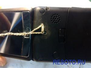 Просверленный телефон, тыльная часть, оригинальное крепление шнурка для ношения.